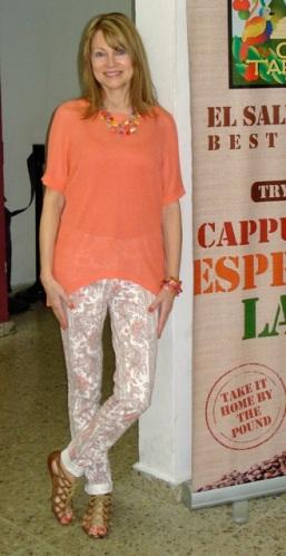 orange knit high low top