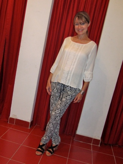 white blouse and black and white pants