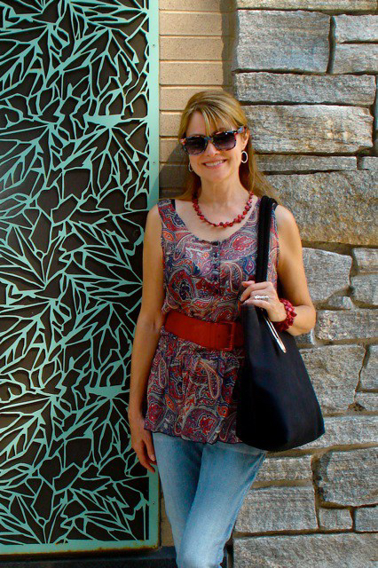 paisley and red belt