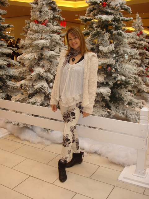 faux fur and floral skinny jeans 1