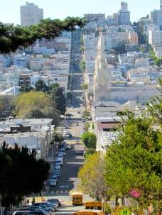 This photo was not taken from an airplane, just standing at the top of one of the streets of San Francisco!