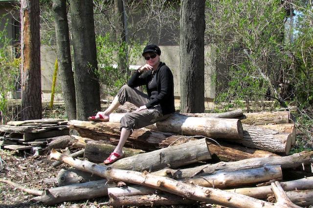 sitting on a log 2