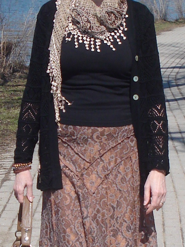 leopard and lace scarf