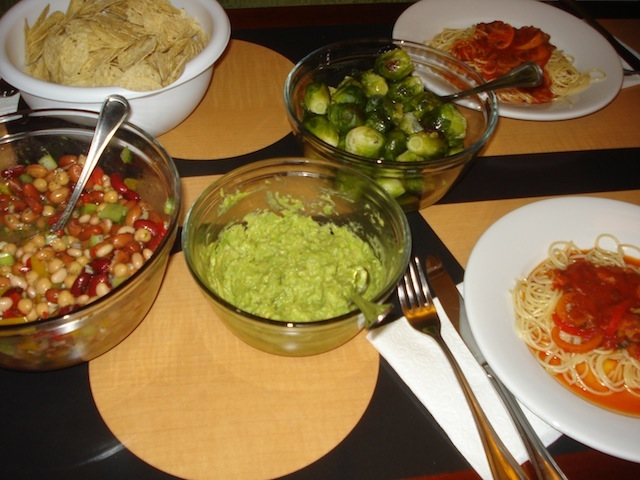 bean salad, guacamoli, brussel sprouts