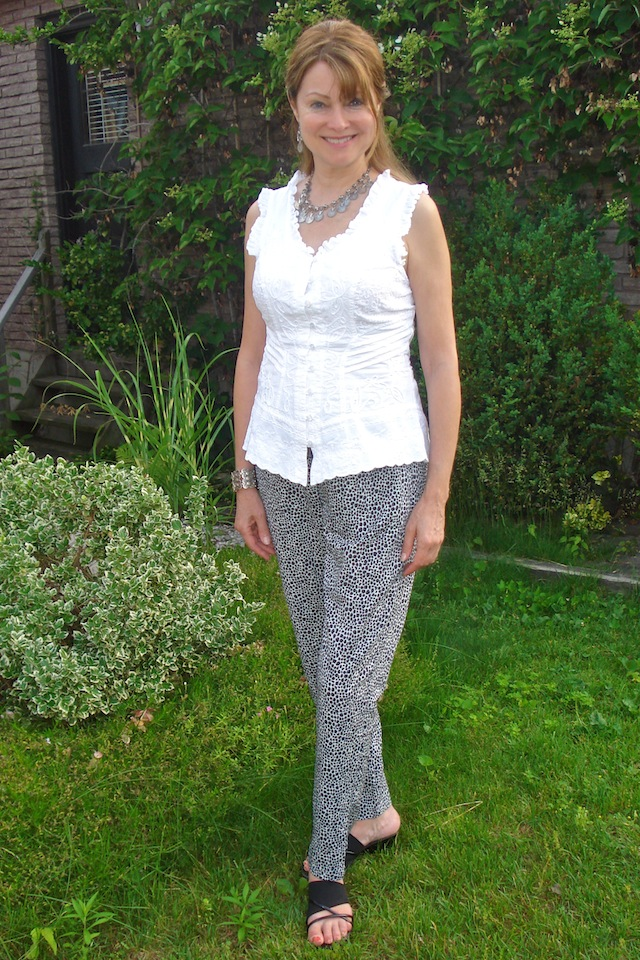 pants with white blouse