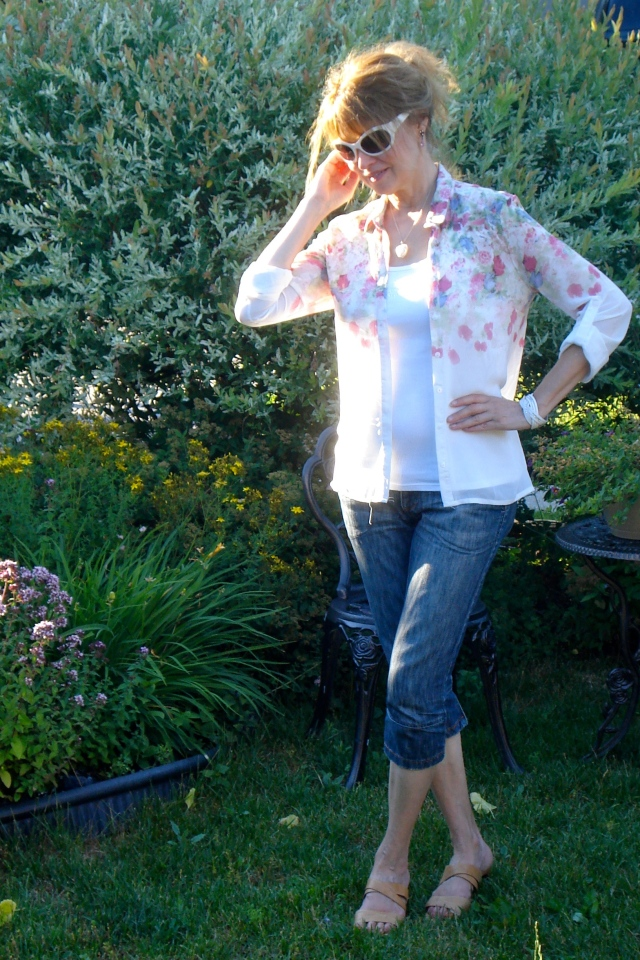 floral blouse dressed down