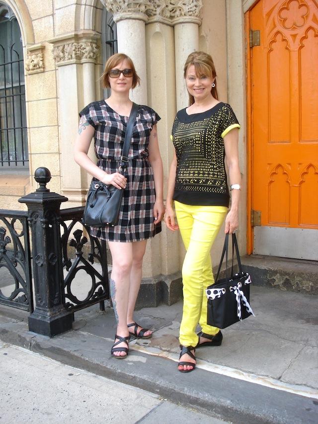 Jean and me by orange door