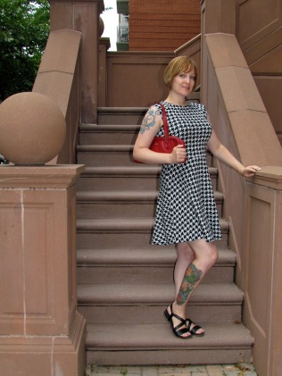 Jean wore her new houndstooth dress from H & M