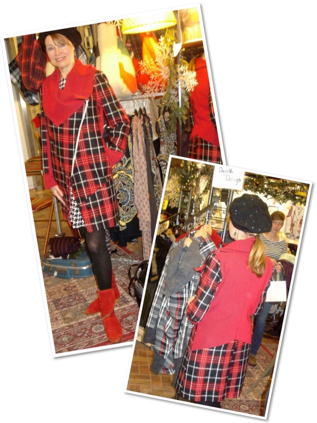 plaid and red coat