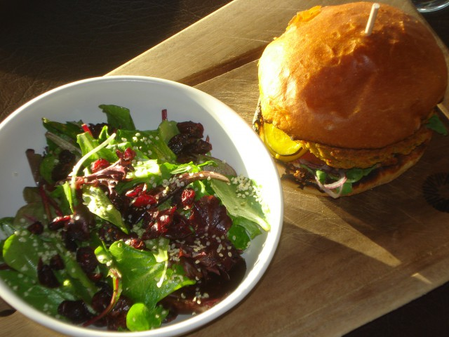 chick pea burger and salad