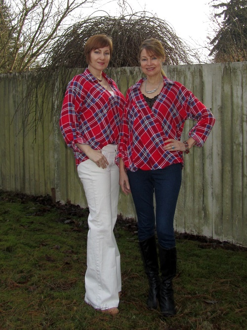 two ways to wear a tartan top