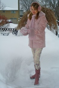 pink faux suede coat