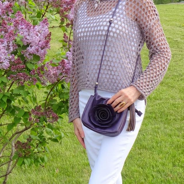 mauve crocheted top closeup