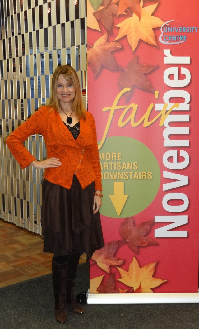 orange jacket and brown faux suede skirt