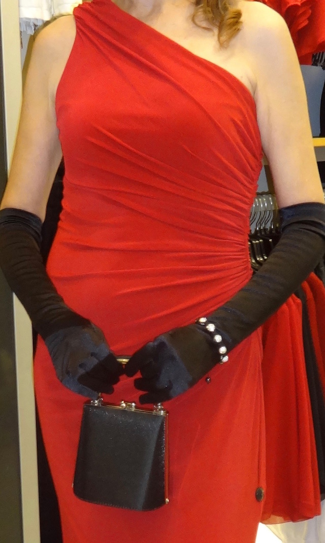 black gloves and satin purse