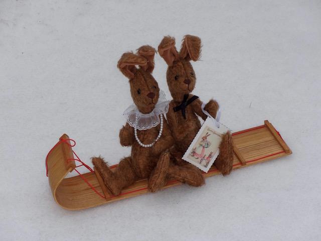 bunnies tobagganing