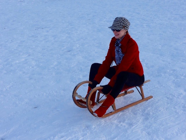carmen on sled