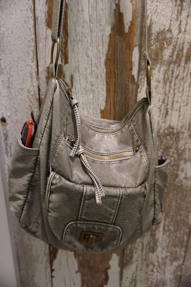 gray pleather purse