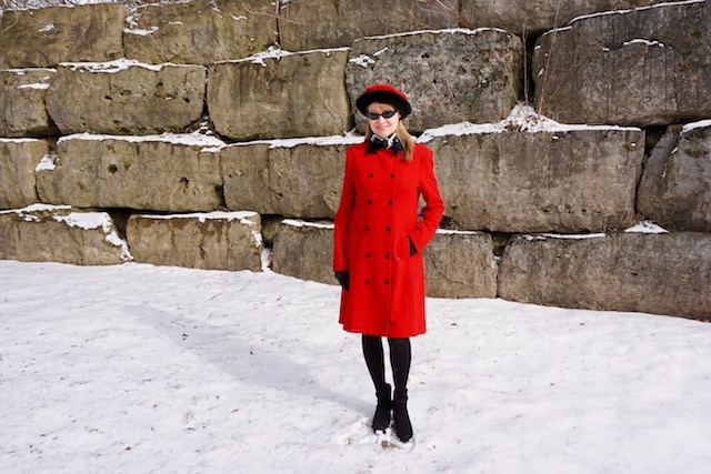 red coat and beret