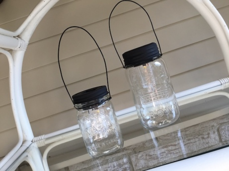 solar lanterns up-cycled from old mason jars, locally made by PickleTree Creations