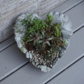 cement heart leaf made by local artisan