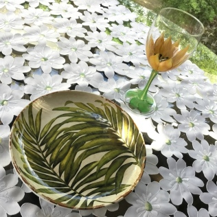flower wine glasses go great with the leaf plates I bought in St. Jacobs